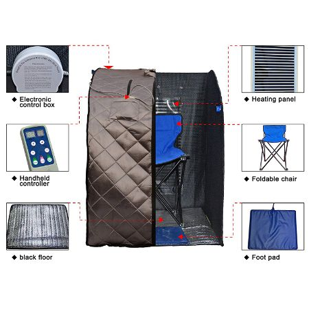 Radiant Saunas Rejuvinator Portable Sauna with FAR Infrared Carbon Panels, Heated Floor Pad, Canvas Chair