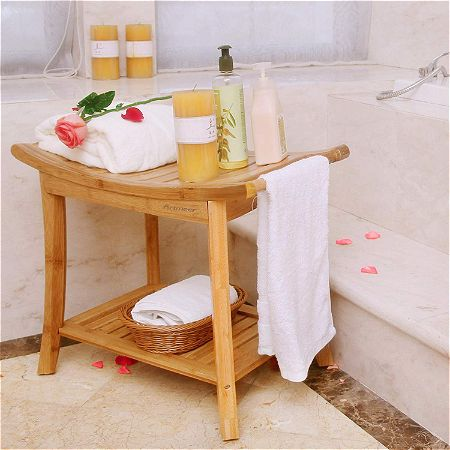 Artmeer Shower Bench with 2-Tier Storage Shelf