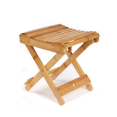ETECHMART 12in Eco-Friendly Bamboo Folding Stool