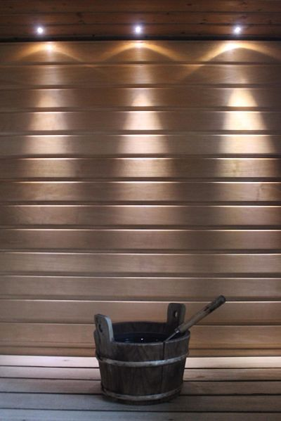 Sauna bucket and lights