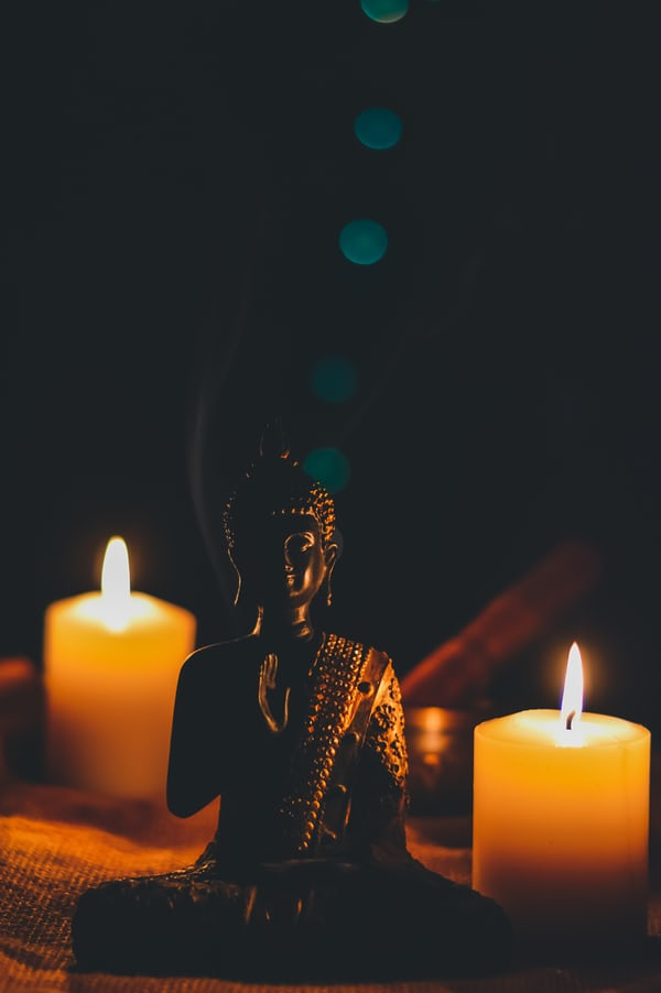 candle and buddha statue